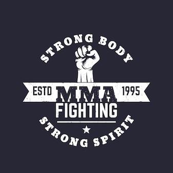 Mma fighting-logo, vektoremblem, t-shirt-druck