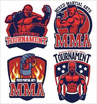 Mma-kämpfer-abzeichen-set