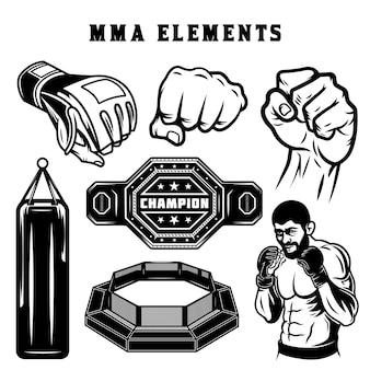 Mma-kampf-monochrom-elemente-set