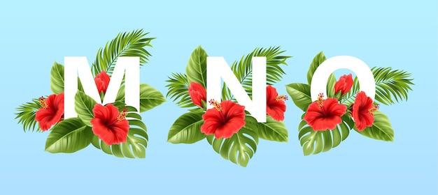 Mno buchstaben umgeben von sommerlichen tropischen blättern und roten hibiskusblüten