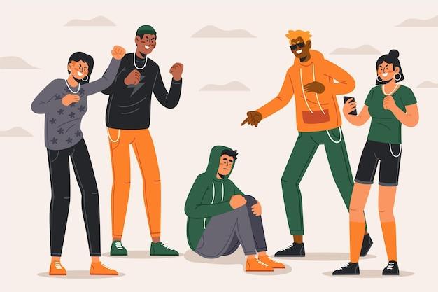 Mobbing illustrationskonzept