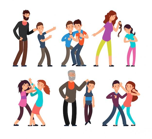 Mobbing menschen. studenten, kinder, die mit wütenden eltern und einander kämpfen. vektorzeichen eingestellt