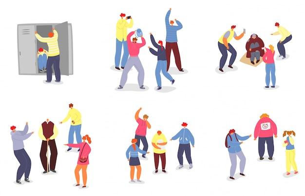 Mobbingillustration der schulkinder, karikaturjugendlicher im mobbingstressverhalten lokalisiert auf weiß