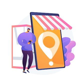 Mobil einkaufen, einkaufen. modernes einkaufen, online-händler, designelement für verbraucherkomfort. marktplatz mit kauf lieferservice.