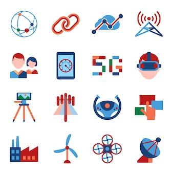 Mobile 5g technologie und netzwerk icons sammlung