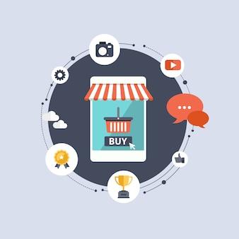 Mobile anwendung für online-shopping-konzept