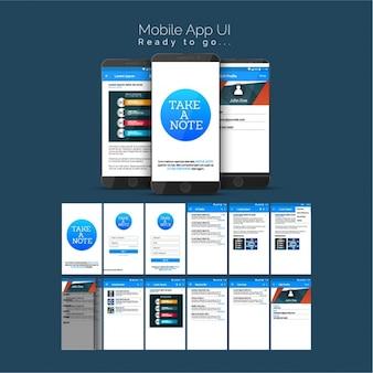 Mobile-anwendung mit blauen elementen