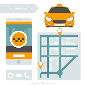 Mobile-anwendung mit einer karte für taxi-service