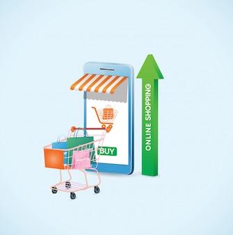 Mobile anwendung, online-shopping auf der website, vektorkonzept