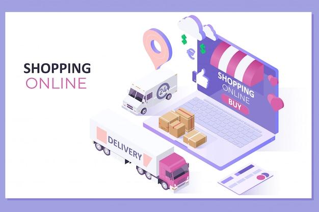 Mobile anwendung, online-shopping auf der website