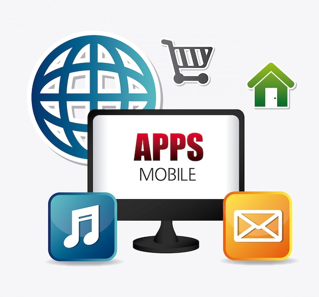 Mobile anwendungen und technologieikonendesign.