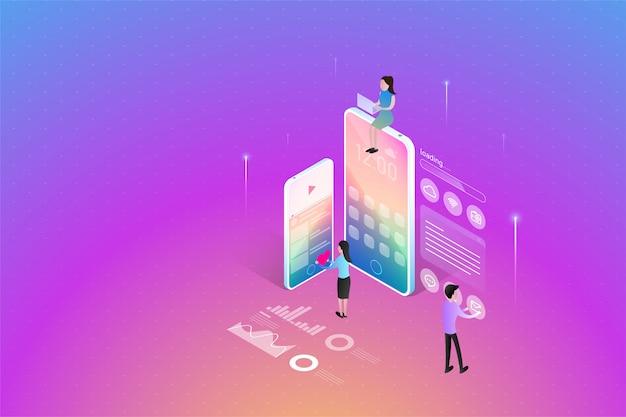 Mobile anwendungsentwicklung, teamwork, die zusammen an einem benutzerschnittstellendesign arbeitet, entwickler, die isometrisches konzept der beweglichen apps aufbauen