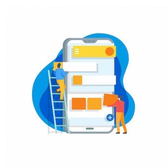 Mobile anwendungsentwicklungs-flache illustration