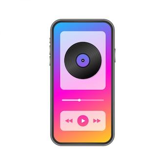 Mobile anwendungsschnittstelle. musikspieler. musik app. lager illustration.
