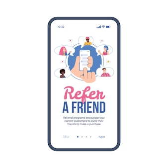 Mobile app auf dem telefonbildschirm mit konzept des empfehlungsmarketings