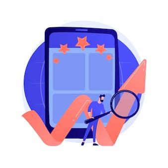 Mobile app bewertung, online-bewertung, effizienzmarke. setzen von sternen für die anwendung, funktionsbewertung. zeichentrickfiguren von smartphone-nutzern.