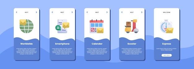 Mobile app-bildschirm weltweit smartphone-kalender roller express-symbol