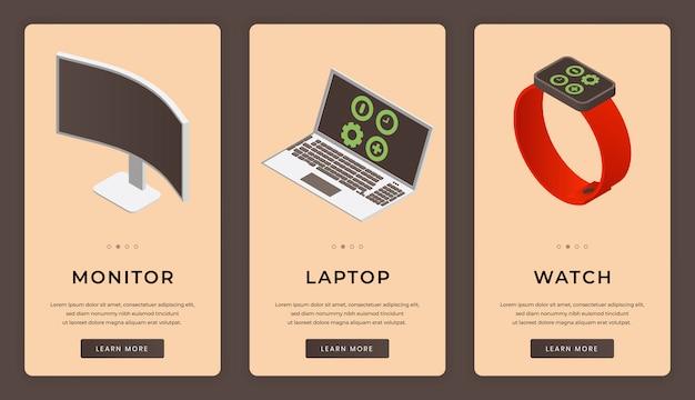 Mobile app-bildschirme für mobile digitale geräte. modernes konzept für elektronische geräte.