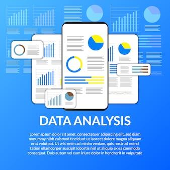 Mobile app-datenanalyse aus diagramm, grafik, statistik für unternehmen, finanzen, bericht