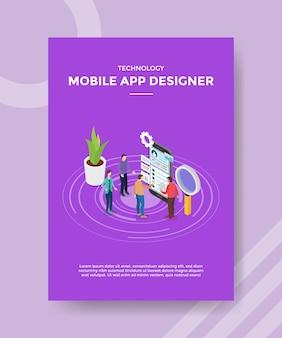 Mobile app designer teamwork zusammenarbeit erstellen software-anwendung für vorlage des flyers