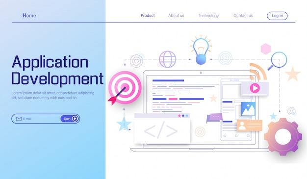 Mobile app-entwicklung, codierung und programmierung von plattformübergreifenden geräten