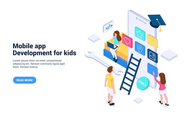 Mobile app-entwicklung für kinder konzept