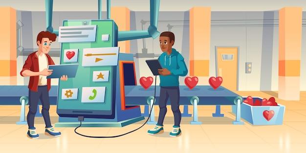 Mobile app entwicklung, liebe oder wie herstellungsprozess, entwickler, smartphone und förderband. menschen erstellen gemeinnützige anwendung oder software für die spende oder datierung cartoon illustration