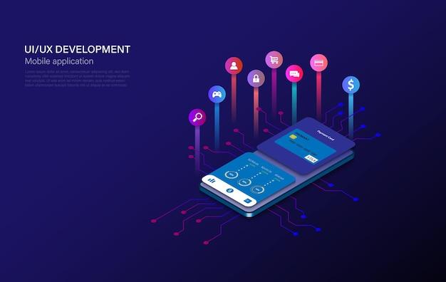 Mobile app-entwicklung-vektor-illustration. isometrisches handy mit anwendung. benutzererfahrung, benutzeroberfläche. gadget-software.