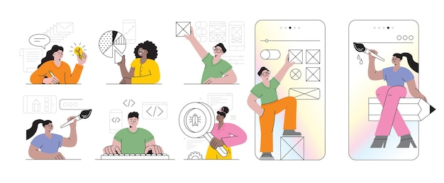 Mobile app-entwicklungsprozess abstraktes konzept vektor-illustration-set reagieren sie native mobile app ux