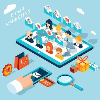 Mobile app für e-mail-marketing. verwalten sie das mailing von ihrem smartphone oder tablet-pc aus. technologieentwicklung, soziale und hüllkurve, kaufmarkt.