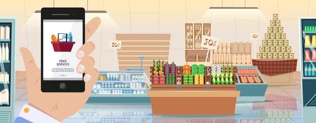Mobile app für lebensmittelgeschäfte. lebensmittellieferung, hand, die smartphone hält. online-shopping und supermarkt-innenraum-vektor-illustration. app-lebensmittelgeschäft online, lebensmittel im smartphone speichern