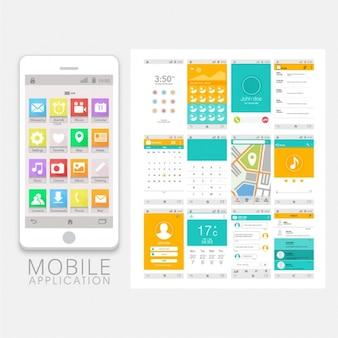 Mobile app mit orange und blau details
