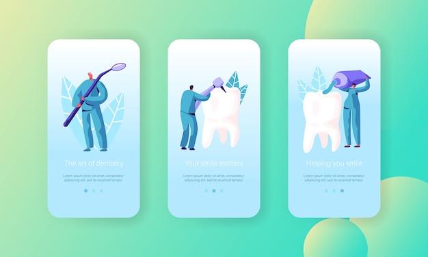 Mobile app seite für die pflege gesunder zähne onboard screen set. prävention, aufhellung und zahnbürste von zahnärzten mit zahnpasta für das gesundheitswesen website oder webseite. flache karikatur-vektor-illustration