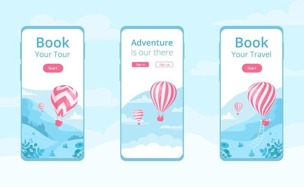 Mobile app-vorlage mit heißluftballonset. reise-online-buchungsservice, abenteuerbuch-app-konzept am handybildschirm mit rotem heißluftballon auf blauer berglandschaft