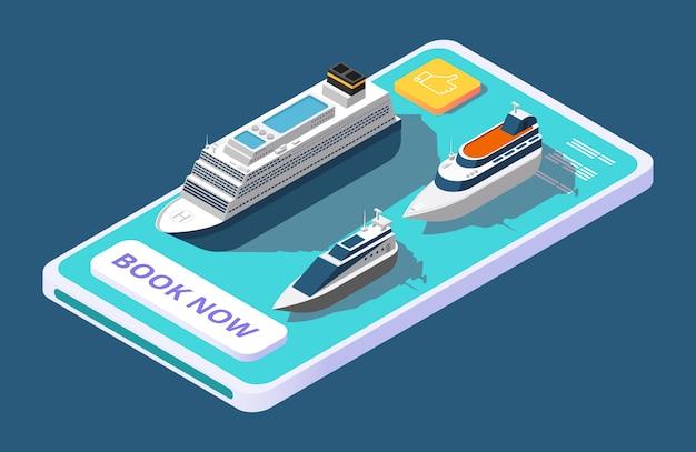 Mobile app zur buchung einer kreuzfahrt mit schiff oder yacht