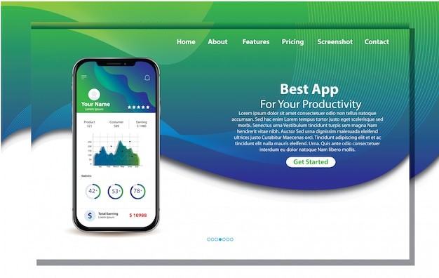 Mobile app zur produktivitäts-landing page