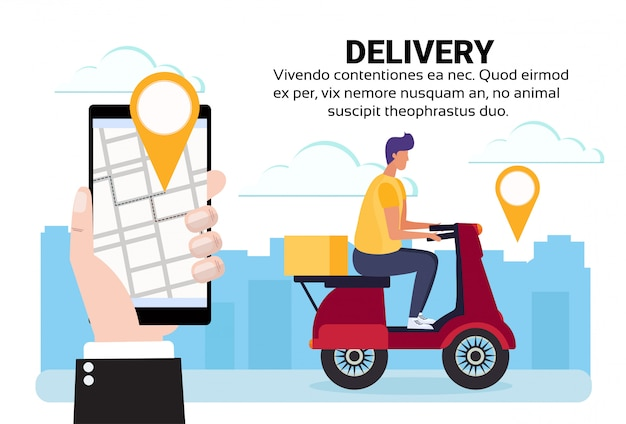 Mobile application location delivery man ride scooter box konzept navigation