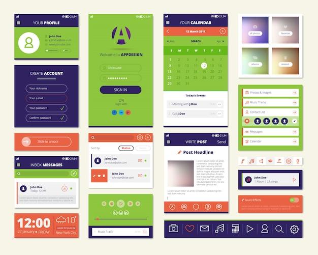 Mobile apps-bildschirmelemente mit dashboard-musik-player-wetter-widget