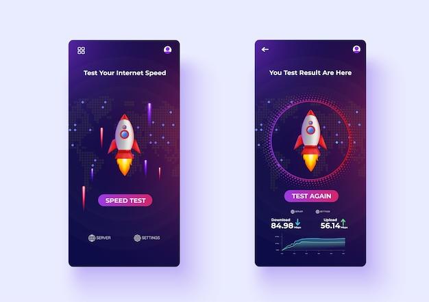 Mobile apps internet-geschwindigkeitstest ux / ui-design