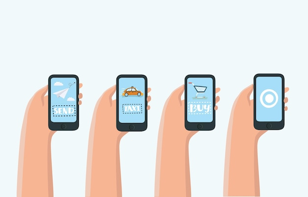 Mobile apps konzept für social networking set
