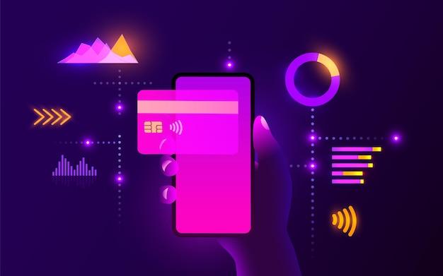 Mobile banking-app und e-payment-hand mit smartphone-zahlung per kreditkarte elektronische geldbörse