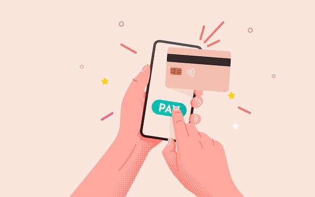 Mobile banking-app und e-payment mit smartphone handhaben und per kreditkarte über elektronische geldbörse bezahlen