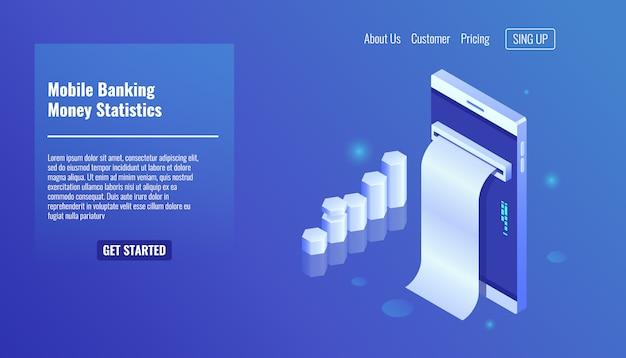 Mobile banking, geld statistiken, smartphone mit wachstum grafik, elektron rechnung