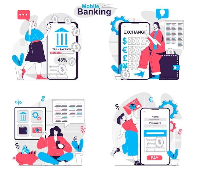 Mobile banking-konzept-set online-dienste für die börsengeschäftsabrechnung