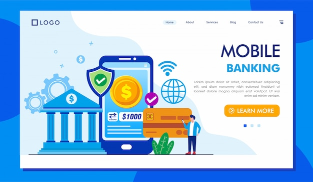 Mobile banking landing page website illustration
