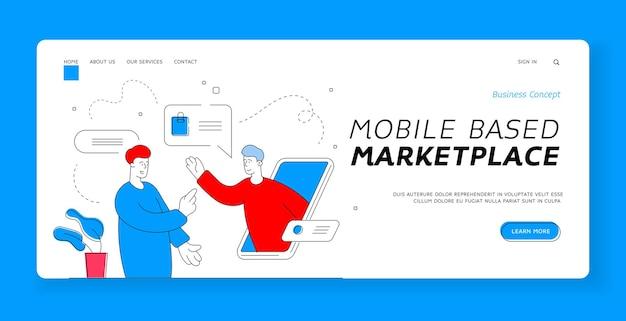 Mobile basierte marktplatz-banner-vorlage. illustration des modernen kerls, der smartphone verwendet, um mit dem support-agenten des online-shops beim einkaufen im internet zu chatten. flache artillustration