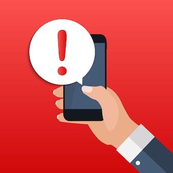 Mobile benachrichtigung für warnmeldungen auf dem smartphone-bildschirmkonzept. illustration
