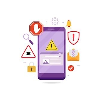 Mobile betrugswarnung warnung designkonzept vektorgrafik