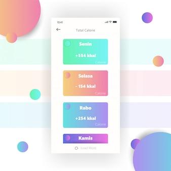 Mobile bildschirm dashboard apps kostenlose farbverlauf