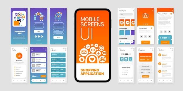 Mobile bildschirme mit benutzeroberfläche der einkaufsanwendung isoliert flach eingestellt